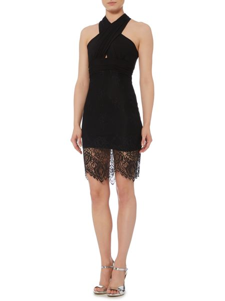 Bardot Sleeveless Cross Front Lace Skirt Dress