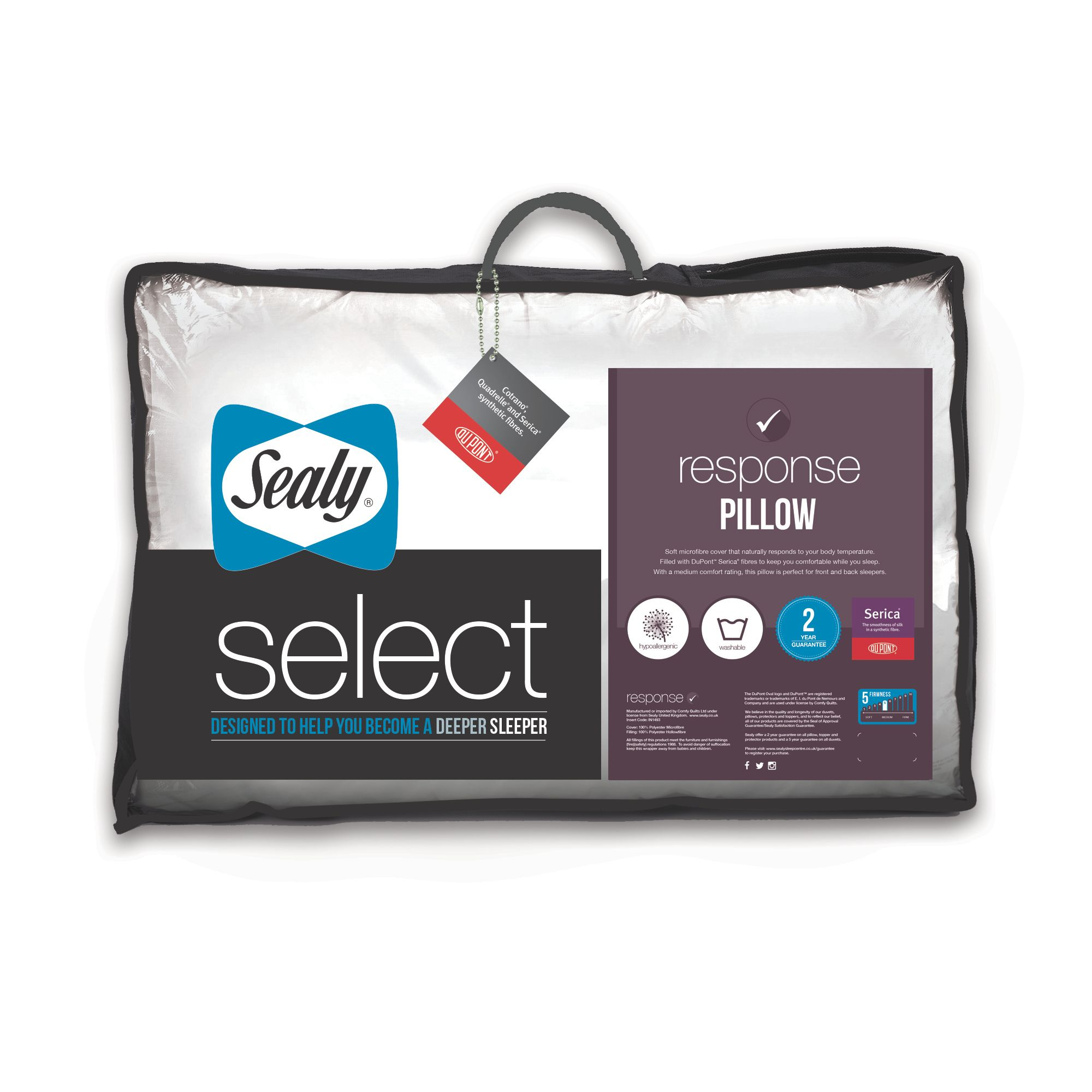 Image of Sealy Response Siliconised Virgin Fibre Quilted Pillow