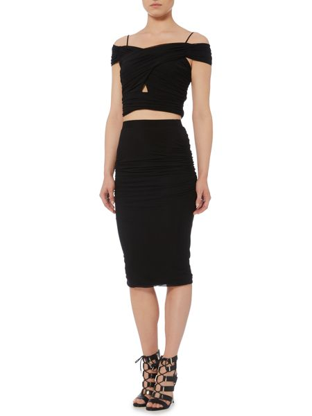 Bardot Drop Shoulder Rouched Crop Top