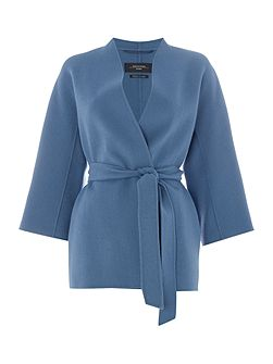 Cabiria double faced wool short belted coat
