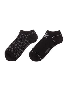 Calvin Klein 2 pack all over logo trainer sock
