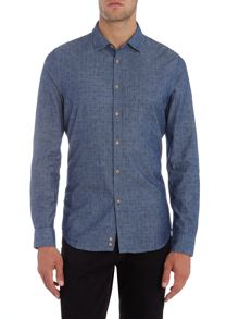 Sisley Men Micro Floral Print Chambray Long Sleeve Shirt