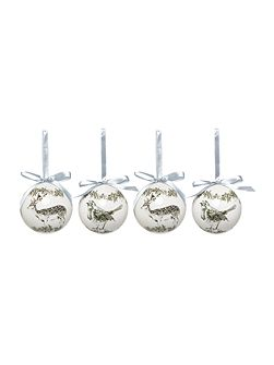 Set of 4 Stag and Robin baubles