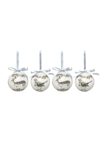 Linea Set of 4 Stag and Robin baubles