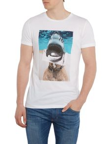 Hugo Boss Treyno 1 half shark half dog print t shirt
