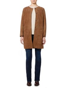 Max Mara Cambio long sleeve suede collarless jacket