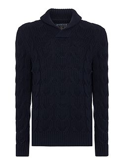 Anderson Cable Shawl Neck Cotton Jumper