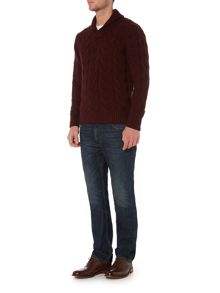 Howick Anderson Cable Shawl Neck Cotton Jumper