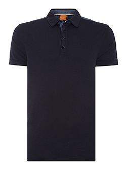 Pyntax contrast back short sleeve polo shirt