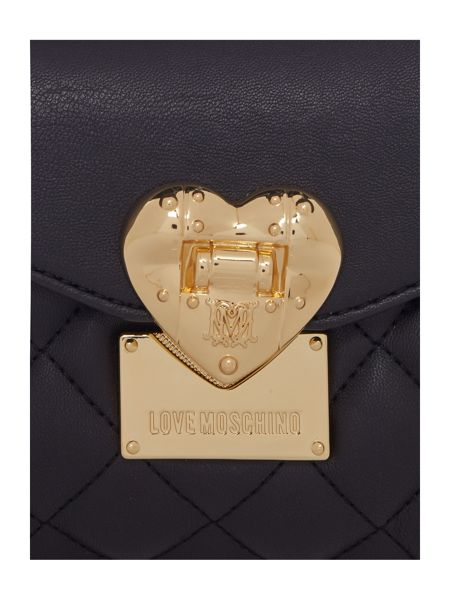 Love Moschino Superquilt black small flapover shoulder bag