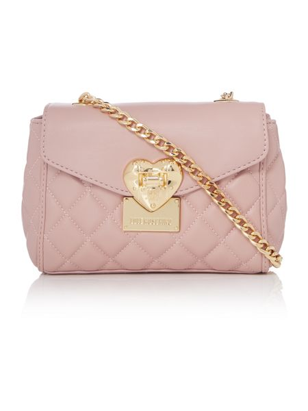 Love Moschino Superquilt pink small flapover shoulder bag
