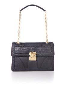 Love Moschino Moc croc black medium flapover shoulder bag