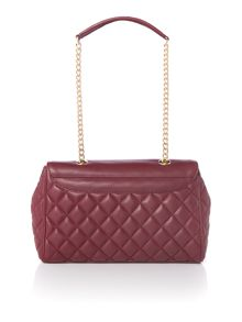 Love Moschino Superquilt burgundy medium flapover shoulder bag