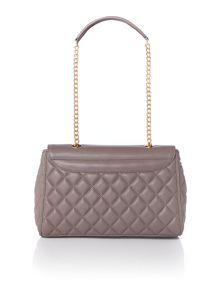 Love Moschino Superquilt grey medium flapover shoulder bag