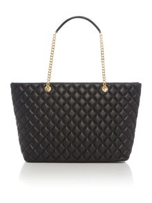 Love Moschino Superquilt black large chain shoulder tote bag