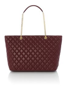 Love Moschino Superquilt burgundy large chain shoulder tote bag