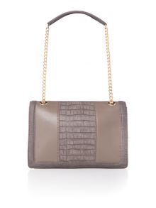 Love Moschino Moc croc grey medium flapover shoulder bag