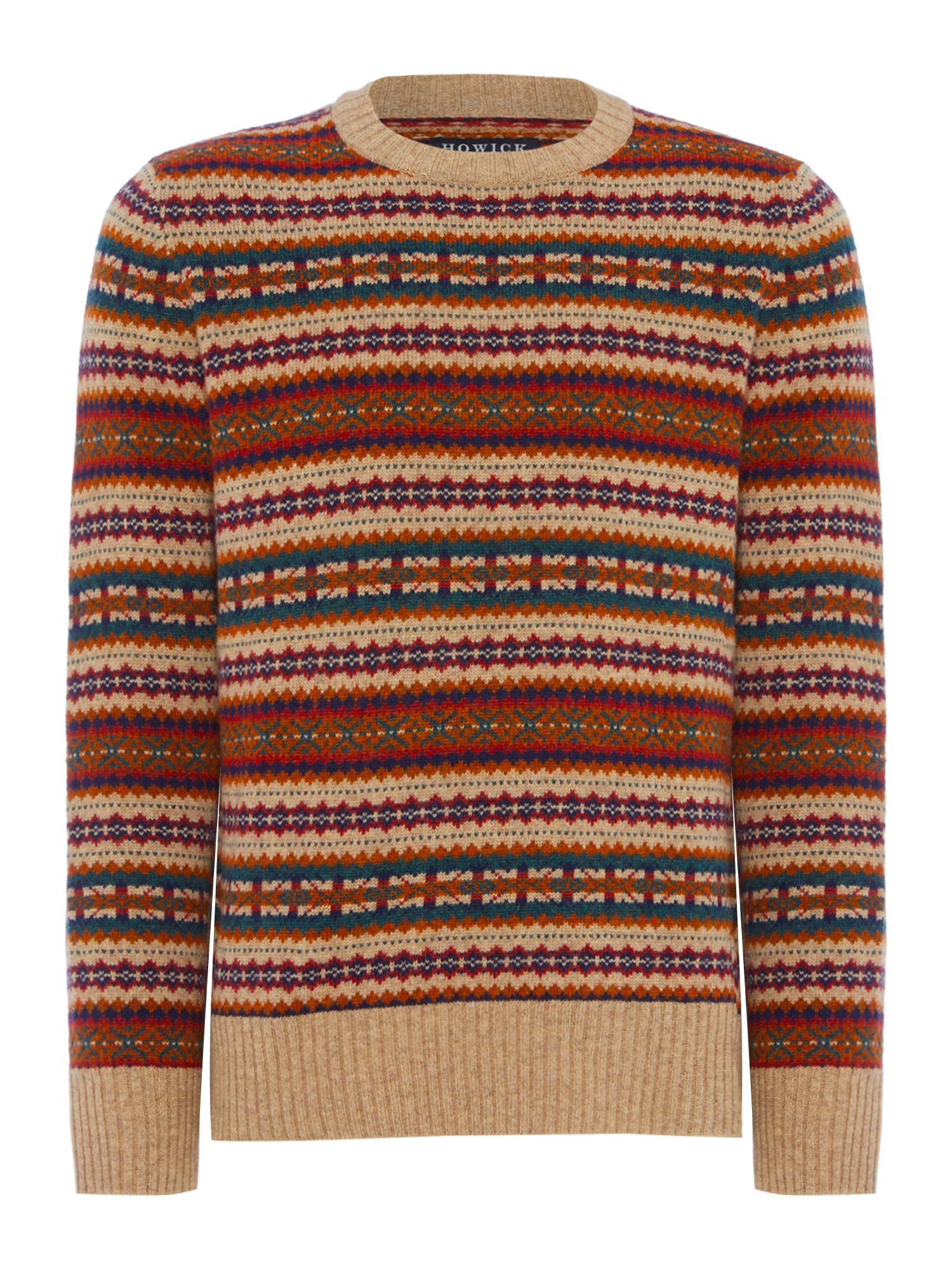 Men's Vintage Style Sweaters – 1920s to 1960s Mens Howick Clarenville Fair Isle Crew Neck Jumper Oatmeal £35.00 AT vintagedancer.com