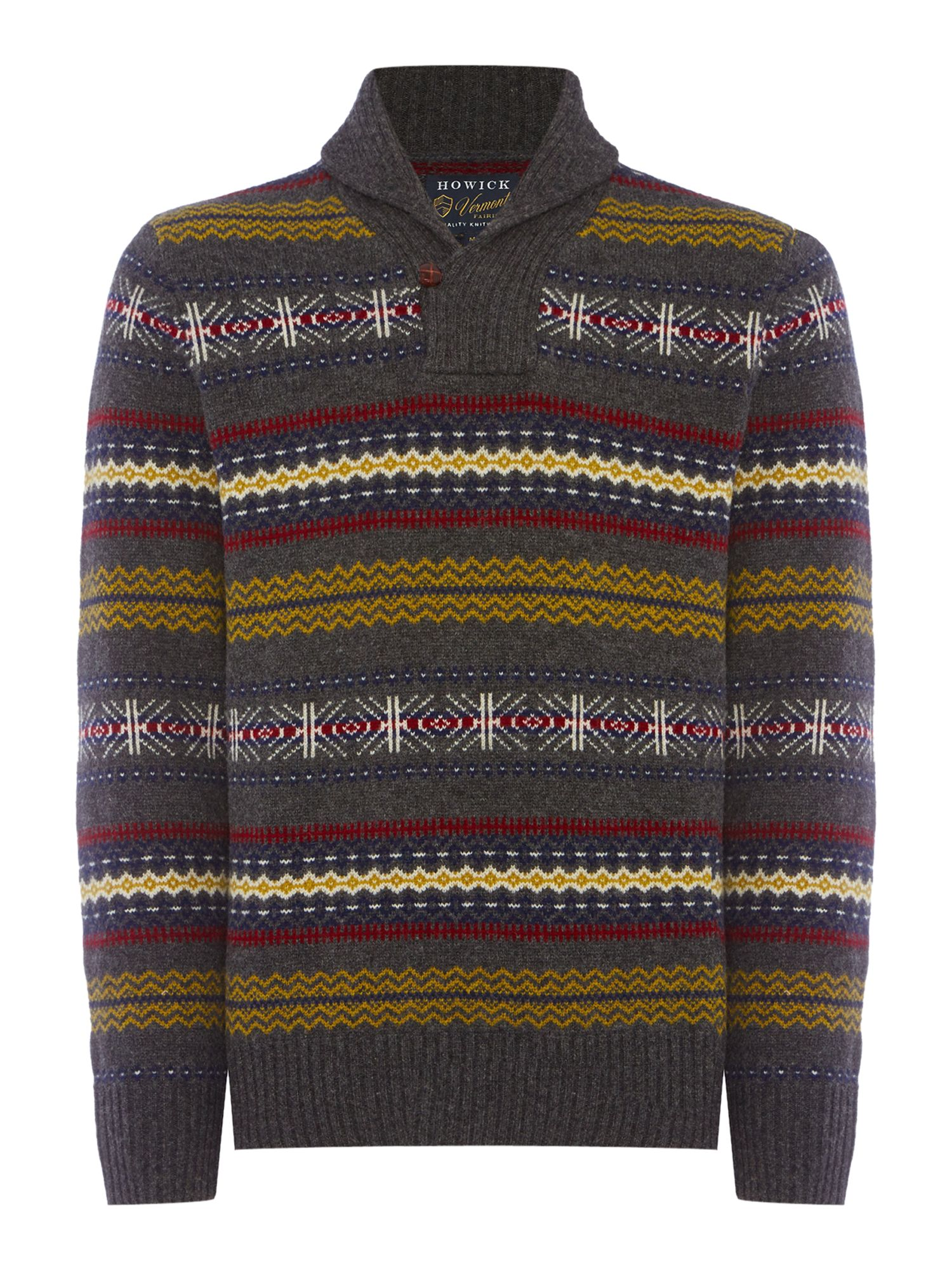 Men's Vintage Style Sweaters – 1920s to 1960s Mens Howick North Star Fair Isle Shawl Neck Jumper Charcoal £38.50 AT vintagedancer.com