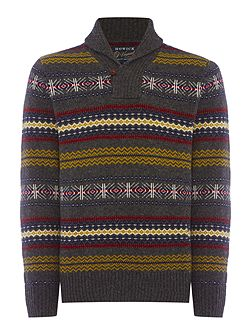 North Star Fairisle Shawl Neck Jumper