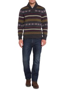Howick North Star Fair Isle Shawl Neck Jumper
