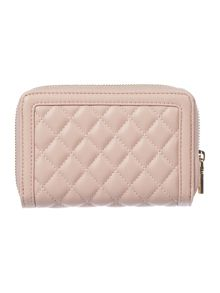 Love Moschino Superquilt pink small ziparound purse