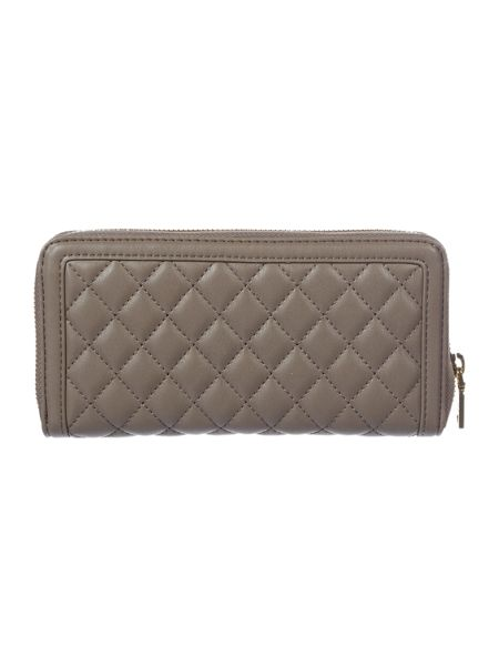 Love Moschino Superquilt grey large ziparound purse