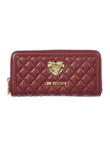 Love Moschino Superquilt red large ziparound purse