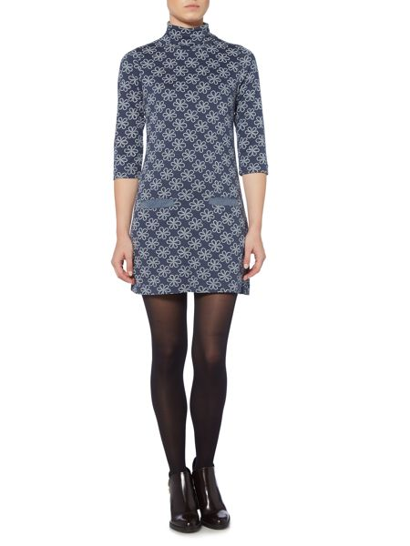 Brakeburn Printed Funnel Neck Dress