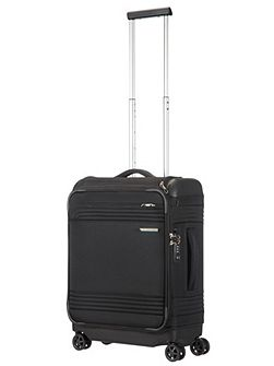 Smarttop black 8 wheel soft 55cm cabin suitcase