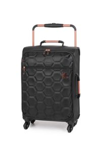 Linea Black hexagon emboss 4 wheel soft cabin suitacase