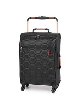 Black hexagon emboss 4 wheel soft cabin suitacase