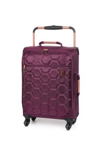 Linea Aubergine hexagon emboss 4 wheel soft cabin case