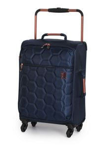 Linea Navy hexagon emboss 4 wheel soft cabin case