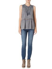 Maison De Nimes Embroidered Peplum Sleeveless Blouse