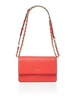 Saffiano red small flapover chain cross body bag