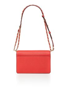 DKNY Saffiano red small flapover chain cross body bag