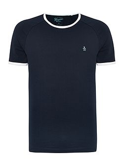 Baseball Contrast Neck Short Sleeve T-shirt