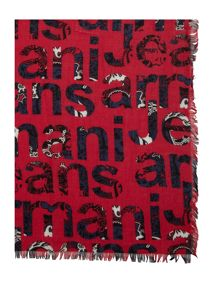 Armani Jeans All over written logo scarf