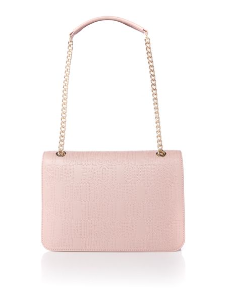 Love Moschino Love stitching pink medium flapover shoulder bag