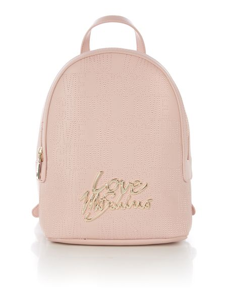 Love Moschino Love stitching pink backpack