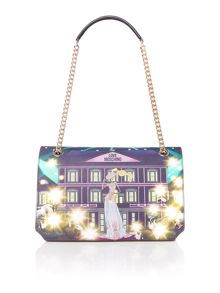 Love Moschino Charming girls print medium flapover shoulder bag