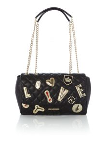 Love Moschino Patchwork quilt black  flapover shoulder bag