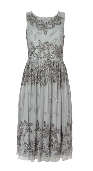 Adrianna Papell Fit and flare all over beaded dress