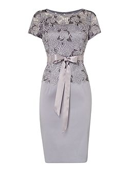 Lace top with silk skirt and tie dress