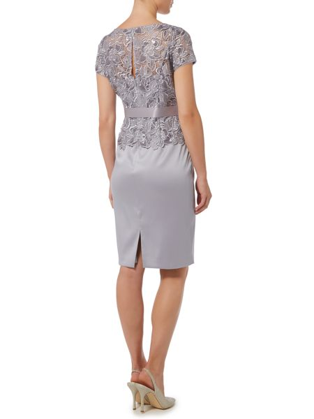 Adrianna Papell Lace top with silk skirt and tie dress