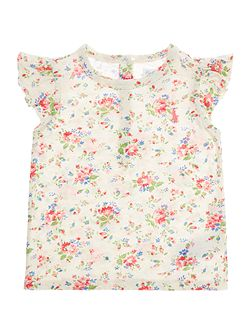 Baby Girls Floral Print Frill Sleeve T-shirt