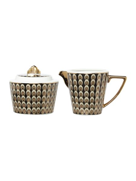 Biba Deco peacock sugar bowl and creamer
