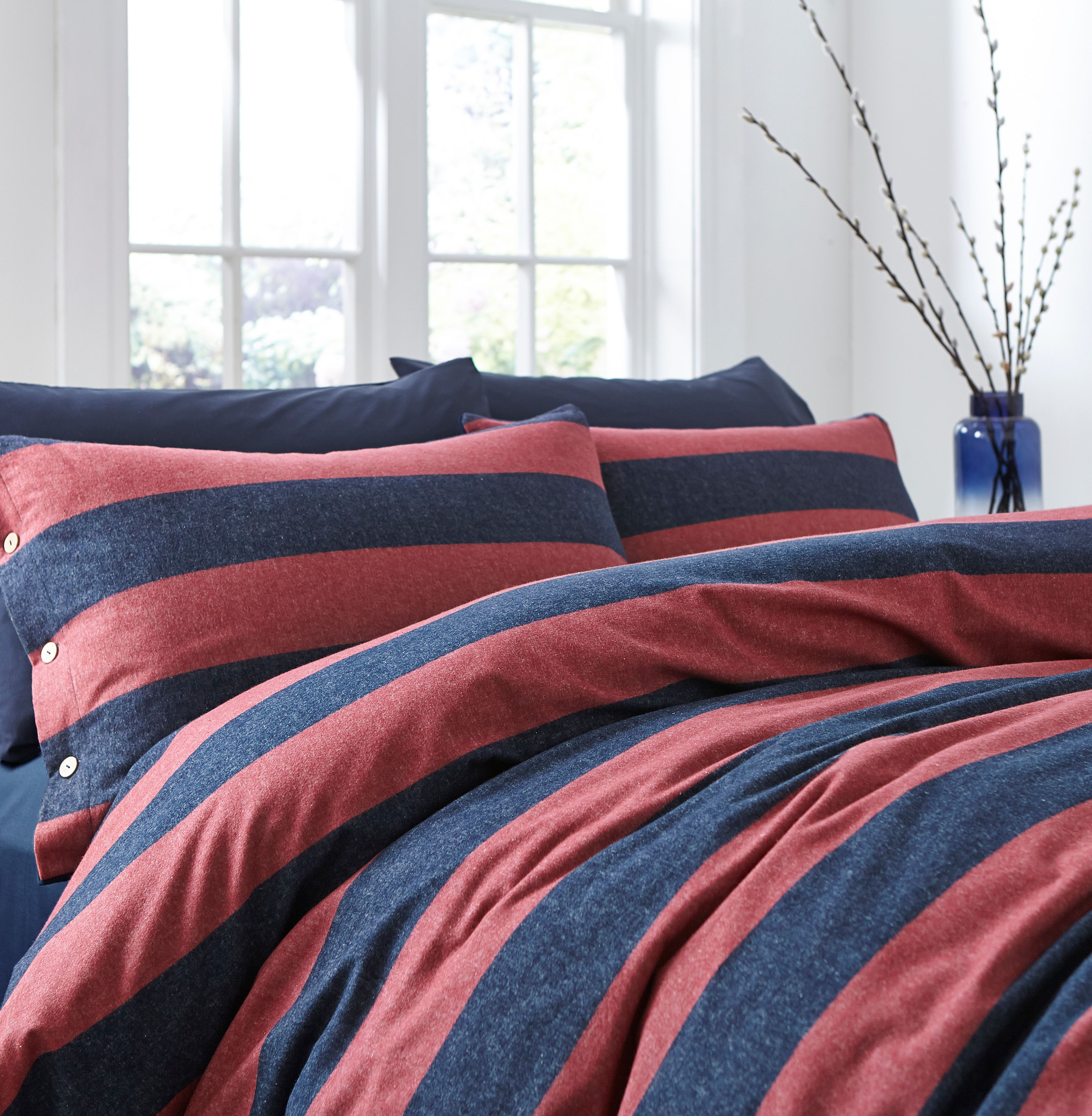 Linea Mcloughlin stripe flannel duvet cover set
