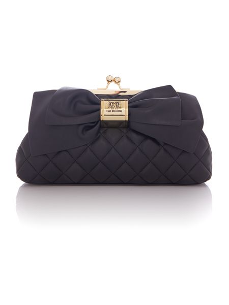 Love Moschino Quilt bow black clutch